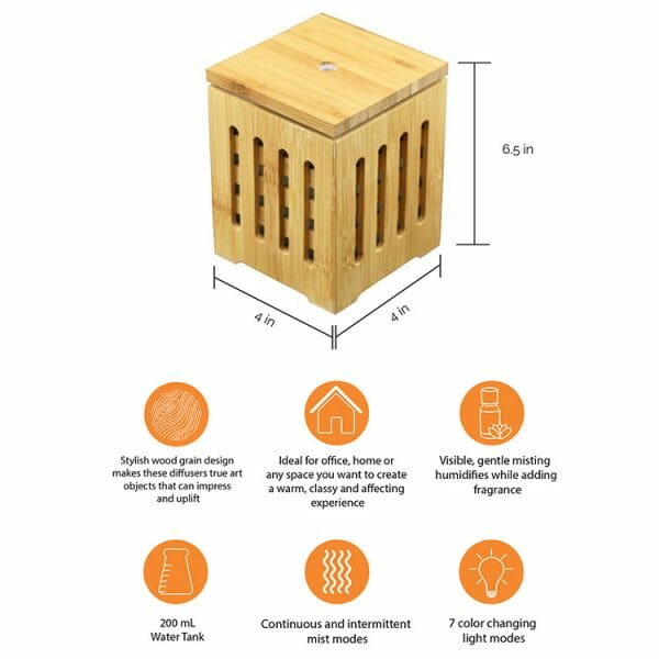 Bamboo Lantern Ultrasonic Essential Oil Diffuser Infographic