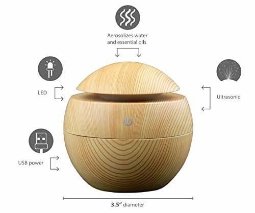 Belle Aroma Wood Grain Orb Ultrasonic Essential Oil Diffuser, with LED, USB