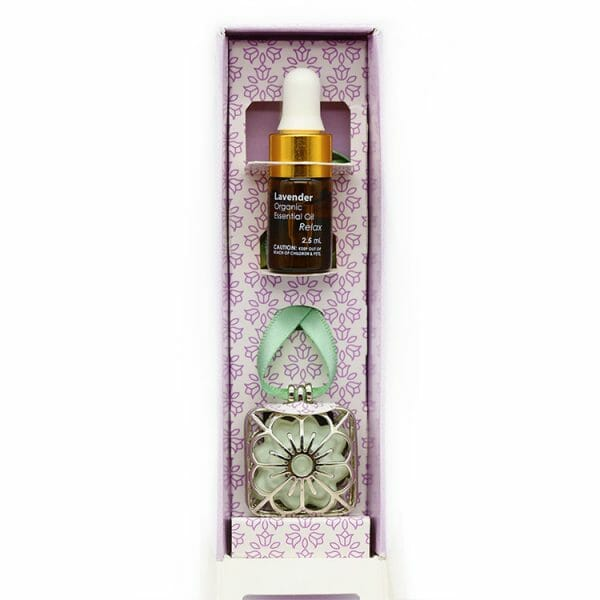 Aromatherapy Scent Pendant - Packaged with Lavender Essential Oil